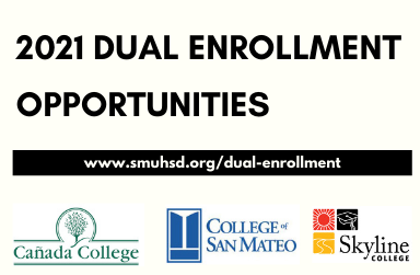 2021 dual enrollment opportunities in black text and 3 icons of community colleges: canada, san mat