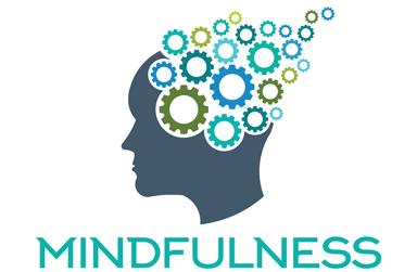 Drawing of a head with colorful cogs as a brain, underneath the word Mindfulness is displayed