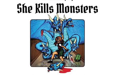 cartoon image of girl slaying the head off of a three head blue dragon
