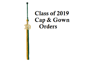 Green and gold tassle with 2019 and text stating cap and gown orders