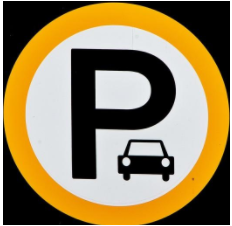 Logo of P representing parking with black car and yellow circle around it