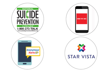 Metal Health resource logos including Suicide Prevention, Crisis Text Hotline and Starvista
