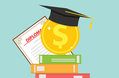 Stock illustration of graduation cap with dollar signs
