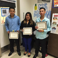 Recent English Learner  graduates from San Mateo High School  (from left to right) William Villanueva, Andrea Garcia Garcia,