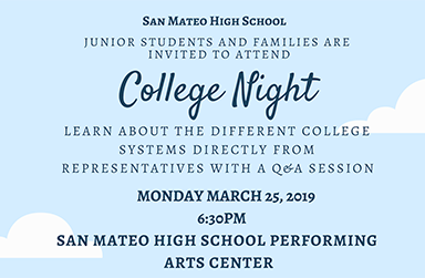 Junior College Night- Monday, March 25th at 6:30 pm