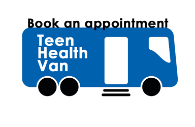 Drawing of a blue bus with text that reads Book an Appointment