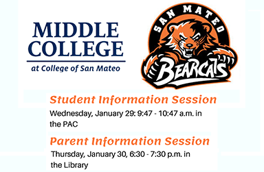 January parent/student info sessions for Middle College