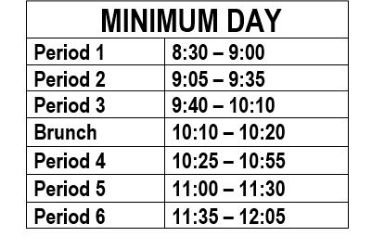 Minimum Day Schedule 2019-2020