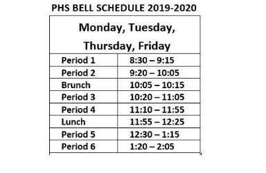 Bell Schedule 2019- 20 Click Here for Details