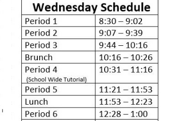 Wednesday Schedule for 2019-2020