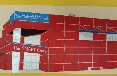 Painting of San Mateo Adult School main building