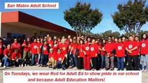 Many student in Red for Adult Ed on Tuesday