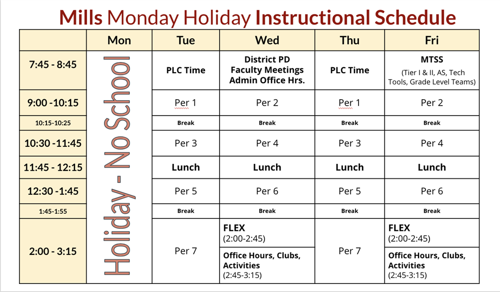 Mills Holiday Instructional Schedule