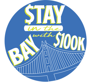 Blue circle with text inside it that reads Stay in the Bay with $100K
