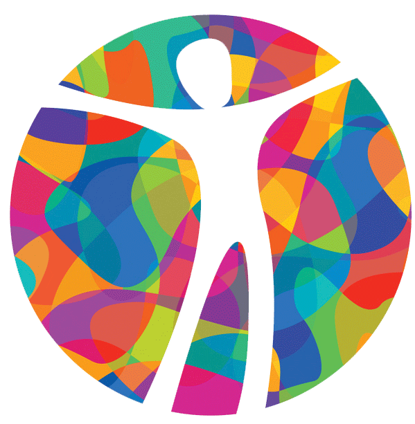 Colorful circle with a cutout of a person in the middle with arms outstretched