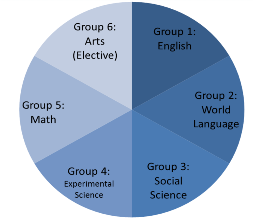 Diagram with different IB groups identified for arts, English, Math, Social Science, World Langauge
