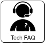 black human icon with question mark and Tech FAQ written