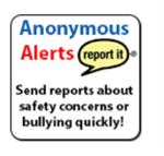 anonymous text in blue with Alerts in red used as a linked icon for reporting purposes