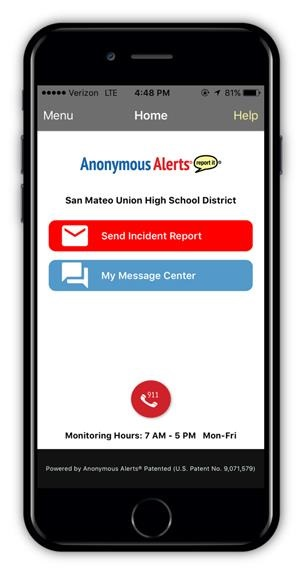 cell phone image with anonymous alerts as its title and icon of message and mail to report incidents