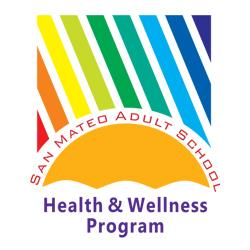 Rainbow colored diagonal lines over a half sun with the words San Mateo Adult School Health and Wellness Program
