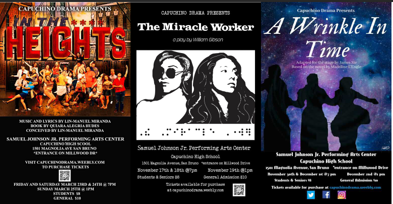 Picture of three different plays, In the Heights, Miracle worker and A Wrinkle in Time