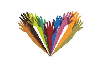 Stock Image of Colorful Hands Grouped Together