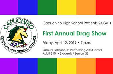 Rainbow Flag background with information about Drag Show on April 12, 7:00 p.m.