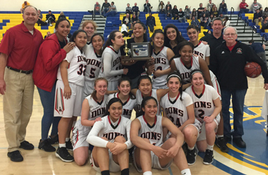 Aragon Girls Basketball Team and coaches with CCS Trophy
