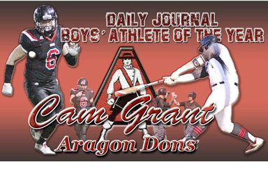 Collage of athlete Cam Grany playing football and baseball with Aragon logo in the background