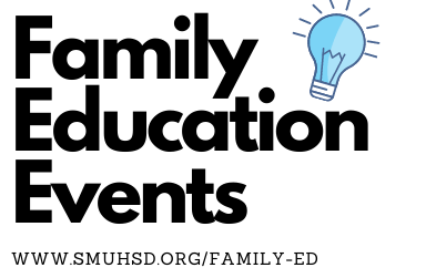 Text that Reads: Family Education Events