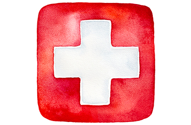 drawing of a first aid symbol, red square with a white plus sign inside