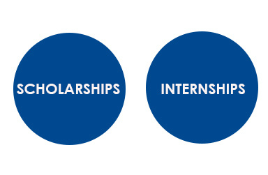Blue circles with the words, Scholarships and Internships