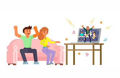 Stock drawing of a couple sitting on a couch watching a concert on their laptop