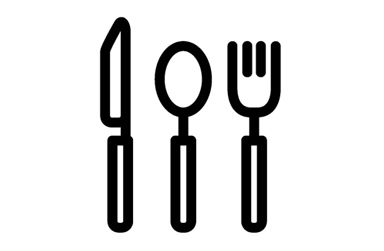 Drawing of a spoon, fork and knife
