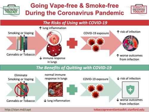 Infographic of COVID19 and Vaping Risks