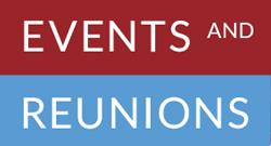 Text that reads Events and Reunions on blue and red rectangles