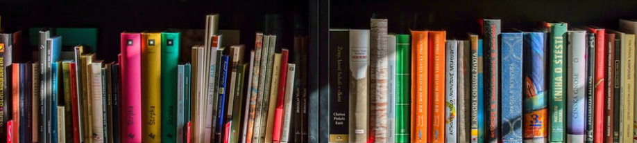 image of colorful books on a shelf