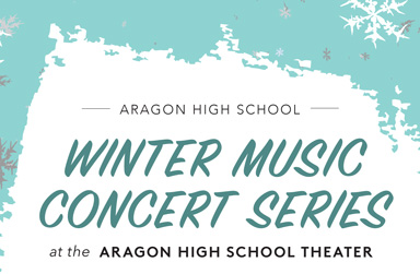 background of snowflakes with text that reads: Aragon Winter Music COncert Series
