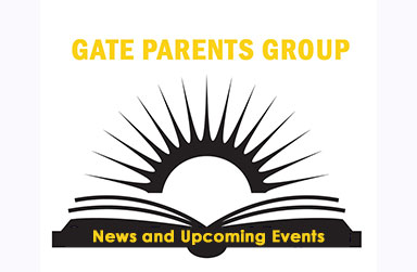 Silhouette drawing of an open book and text that reads: GATE Parents Group Events