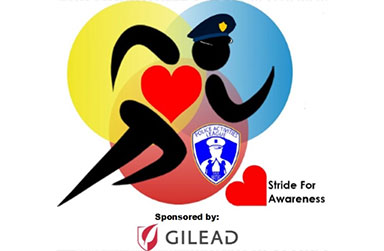 Drawing of a police officer running with a Stride for Awareness logo