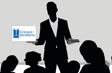 silhouette of a teacher in front of a class. with College of San Mateo logo in the background