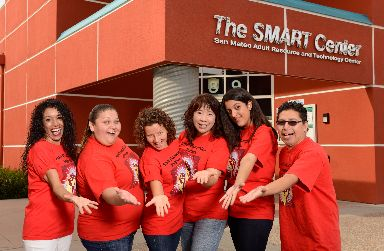 San Mateo Adult School Students in front of the SMART Center